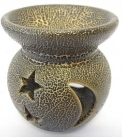 Duftlampe Keramik gold mit Stern und Mond